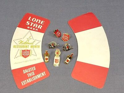 Lot 7 Lone Star Beer Metal Hat Pins Armadillo Shield Bottle + Advertising Piece