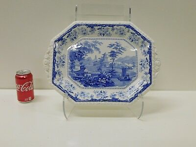 HUGE Early CANTON Chinese Marine Staffordshire Transferware Platter Tureen Plate