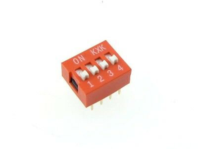 "5Pcs 4 Position ON/OFF DIP DIL Switch 2.54mm 0.1"" Pitch Switches Red"