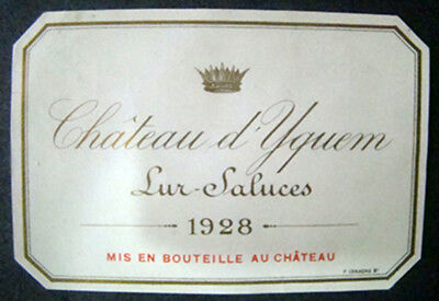 Original Wine Label Chateau D'yuquem Lur Saluces 1928  Rare