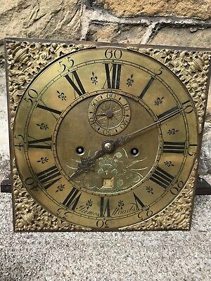"""Antique 12"""" Brass Longcase Dial & Movement Complete With Key Weights Etc"""