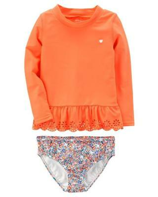 CARTER'S® Baby Girls' 12M, 18M Neon Orange Long Sleeve Rashguard Swim Set NWT
