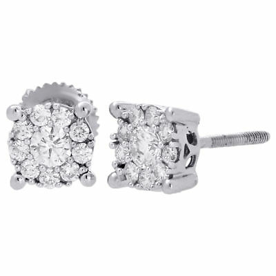 14K White Gold Solitaire Accent 6mm Round Diamond Flower Stud Earrings 1/2 Ct.
