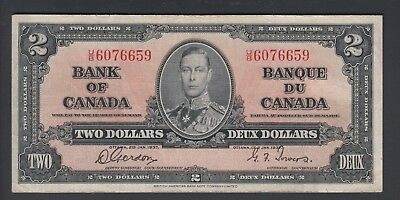 1937 $2 Dollars - Gordon Towers - Prefix U/B - Bank of Canada - F324