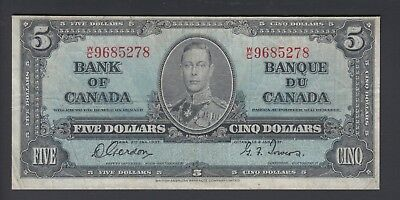 1937 $5 Dollars - Gordon Towers - Prefix W/C - Bank of Canada - F378