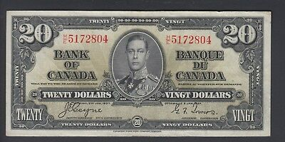 1937 $20 Dollars - Coyne Towers - Prefix H/E - Bank of Canada - F382