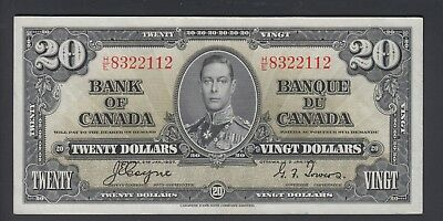 1937 $20 Dollars - Coyne Towers - Prefix H/E - Bank of Canada - F383
