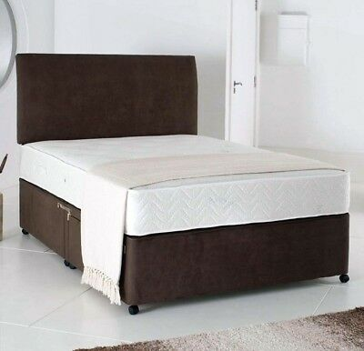 SUEDE DIVAN BED SET +MATCHING MEMORY MATTRESS +HEADBOARD 3FT 4FT 4FT6 Double 5FT