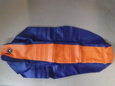Flu Orange/blue Pleated Gripper Seat Cover  Ktm Sxf  Xc  2016 2017 2018 Sx Xcf