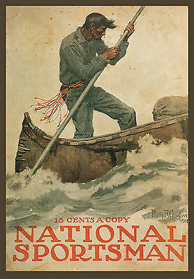 "Philip R Goodwin, Rowing Guide, Antique, National Sportsman, 16""x11"" ART PRINT"
