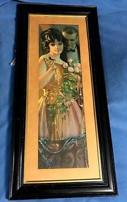 antique MAN w/WOMAN HOLDING FLOWERS & ENGAGEMENT RING FRAMED PICTURE vintage WOW