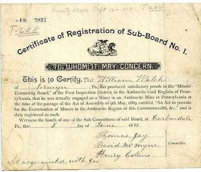 1893 Anthracite Coal Miner Certificate of Competency Carbondale Pennsylvania