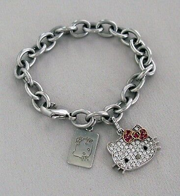 SANRIO Sterling Silver Bracelet with HELLO KITTY White/Red CZ CHARM & TAG;F723