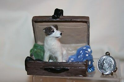 Miniature Dollhouse Artisan Felted Jack Russell Terrier Dog in Suitcase 1:12 NR