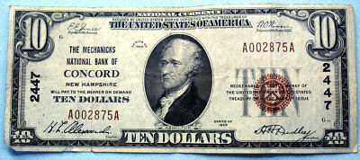 1929 Ten Dollars National Currency Federal Reserve Bank - Concord, New Hampshire