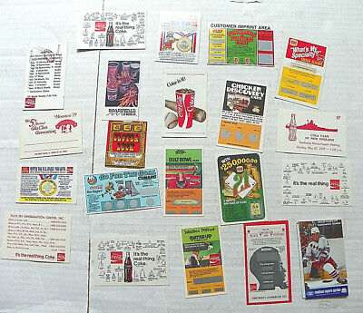 (Nice Lot Of 21) Coca Cola Paper Items - Restaurant Promotional Coupons, Etc.