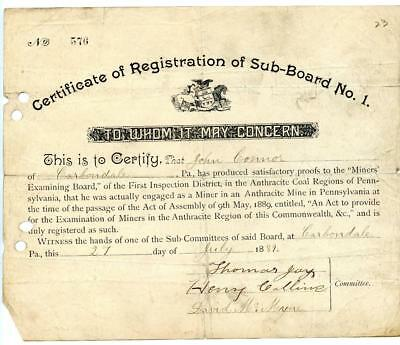 1889 Anthracite Coal Miner Certificate of Competency Carbondale Pennsylvania #3