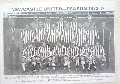 Laminated copy of a black and white photo of Newcastle United team 1973/74