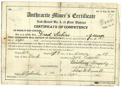 1921 Anthracite Coal Miner Certificate of Competency Carbondale Pennsylvania