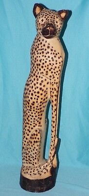 Solid Wood Handcarved Tall Large Regal Sitting Wild Cheetah Cat Figure Statue