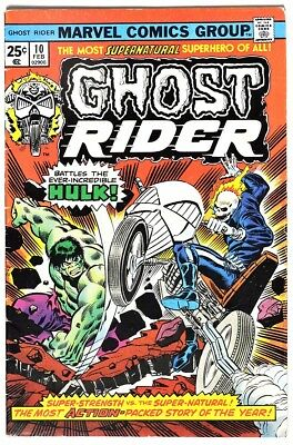 S968 GHOST RIDER #10 Marvel 5.0 VG/FN (1975) HULK APPEARS ON COVER NOT IN ISSUE`