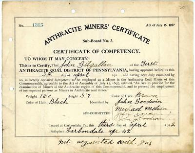 1912 Anthracite Coal Miner Certificate of Competency Carbondale Pennsylvania