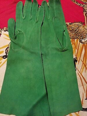Vintage French Kid Leather 13 inch Evening Gloves -Trefousse - Green !