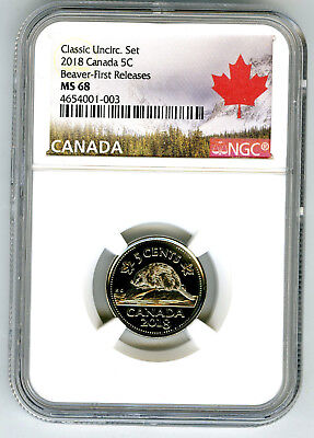 2018 Canada 5 Cent Classic Nickel Ngc Ms68 First Releases Top Pop Just 8 Known