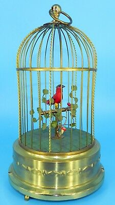 VINTAGE Automaton GERMAN KARL GRIESBAUM Singing RED BIRD CAGE MUSIC BOX Perfect