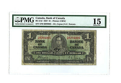 1937 $1 CANADA PMG 15 BC-21d CHOICE FINE BANKNOTE COYNE TOWERS S/N S/M 6204065