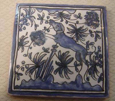 Antique Vintage Hand Painted Faiancas-Berardos Blu & White Dog Portuguese Tile