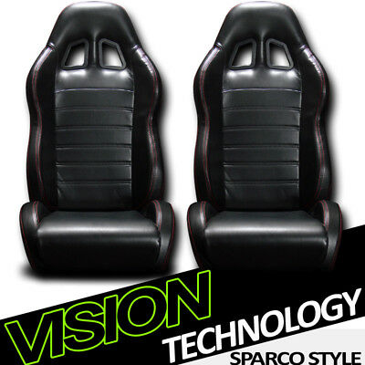 SP Black PVC Leather Red Stitch Reclinable Racing Bucket Seats w/Slider Pair V12