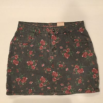 Arizona Jean Co. Floral Skort Skirt Girls 14 XL Gray w/Pink Roses Casual NWT $30