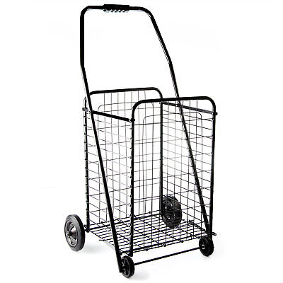 Portable Folding Shopping Cart with Wheels Deluxe Utility Cart, Black