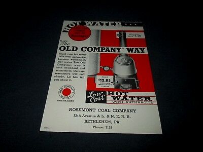 OLD COMPANY LEHIGH-HOT WATER WITH ANTHRACITE COAL-BETHLEHEM, PA-1930s BLOTTER