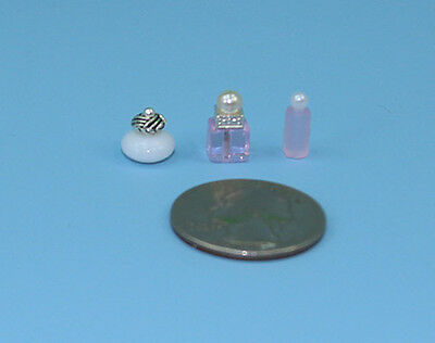 Beautiful Set of 3 Dollhouse Miniature Perfume Bottles for your Vanity #PS5