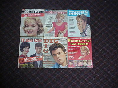 lot of 6 vintage movie magazines dated 1961.  All are complete.