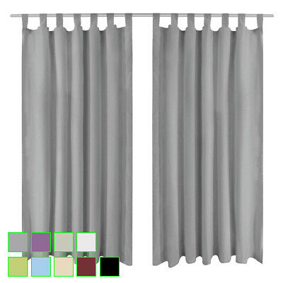 vidaXL 2x Micro-Satin Curtains with Loops Window Drapes Multi Sizes/Colours