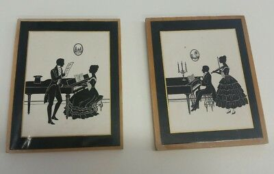Vintage Pair of  Silhouette Prints on wood - In the Music Room