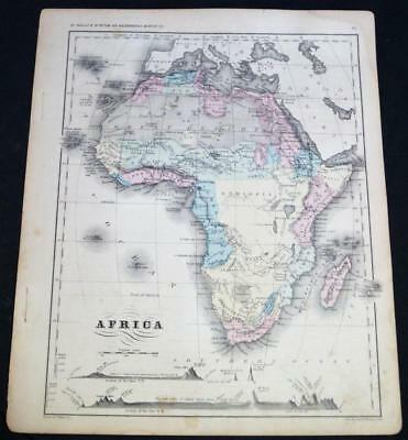 RAND MCNALLY SYSTEM OF GEOGRAPHY ATLAS PLATE MAP NO.32 AFRICA VINTAGE 1870s