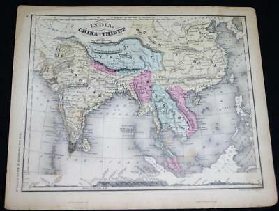 RAND MCNALLY SYSTEM OF GEOGRAPHY ATLAS MAP NO.31 INDIA TIBET CHINA 1870s VINTAGE