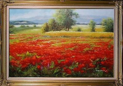"""100% handmade Oil Painting Poppy Field with Wheat on Canvas Signed 24""""x36"""""""