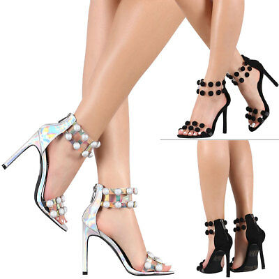 18a8314aed8b Transparent Clear Open Toe Dome Stud Ankle Strap Cuff Stiletto High Heel  Sandals