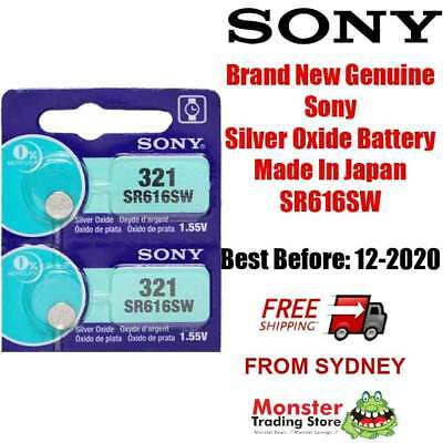 2 Pcs Sony Sr616Sw 321 1.55V Silver Oxide Battery Made In Japan Use By: 12/2020
