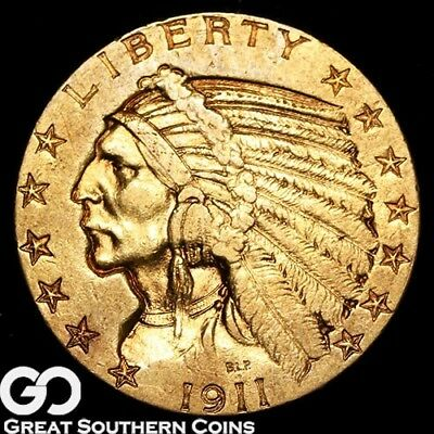 1911-S Half Eagle, $5 Gold Indian, Nice Look ** Free Shipping!