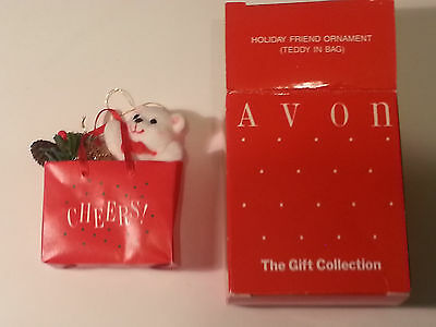 Avon - Gift Collection -Timeless Treasures Holiday Friend Ornament -Teddy In Bag