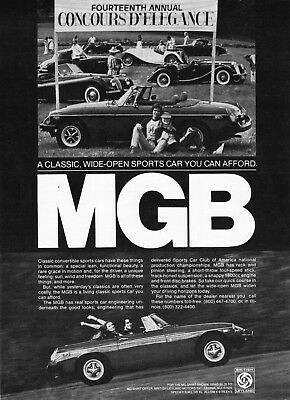 "1979 MG MGB Convertible photo ""At Concours D' Elegance"" vintage promo print ad"