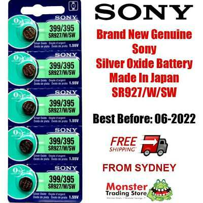 5 Pcs Sony Sr927Sw /w 399 / 395 1.55V Silver Oxide Made In Japan Use By: 01/2021