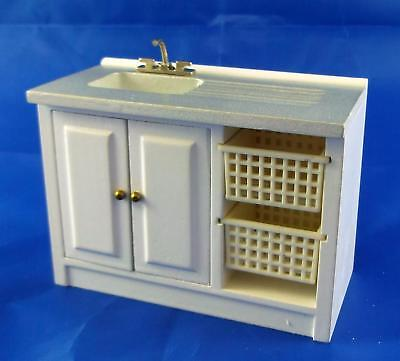 Melody Jane Dolls House Miniature Furniture Laundry Sink Unit & Baskets