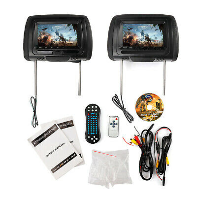 "2x Black 7"" Car Headrest Monitors w/DVD Player/USB/SD/FM/IR+Games"